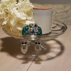 Owl themed cuff and earrings